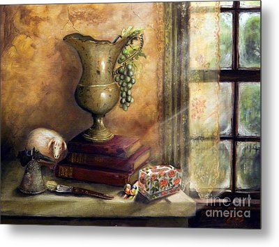 The Books By The Window Metal Print by Sandra Aguirre