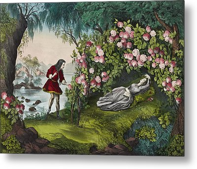 The Bower Of Roses Circa 1856 Metal Print by Aged Pixel