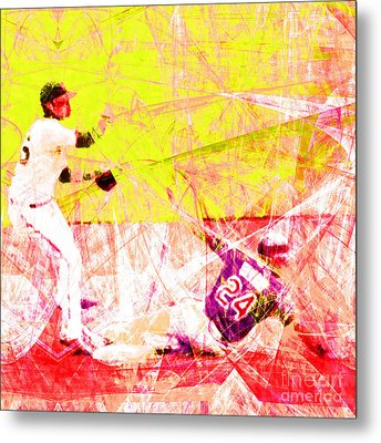 The Boys Of Summer 5d28208 The Double Play Square V3 Metal Print by Wingsdomain Art and Photography