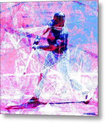 The Boys Of Summer 5d28228 The Batter Square Cool Lbb Metal Print by Wingsdomain Art and Photography