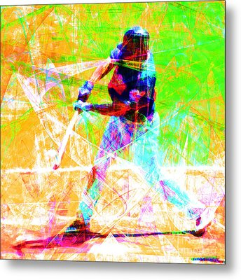 The Boys Of Summer 5d28228 The Batter Square Metal Print by Wingsdomain Art and Photography