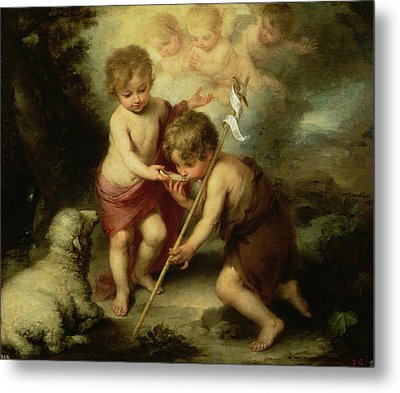 The Boys With The Shell, C.1670 Oil On Canvas Metal Print by Bartolome Esteban Murillo
