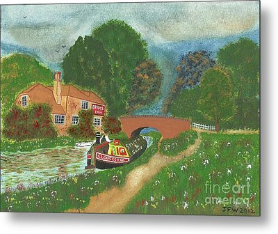 Metal Print featuring the painting The Bridge Inn by John Williams