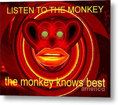 The Broadcast Monkey Metal Print by Catherine Lott