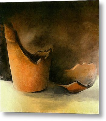 The Broken Terracotta Pot Metal Print by Michelle Calkins