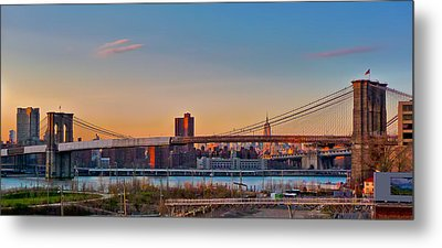 The Brooklyn Bridge And The Empire State Building Metal Print