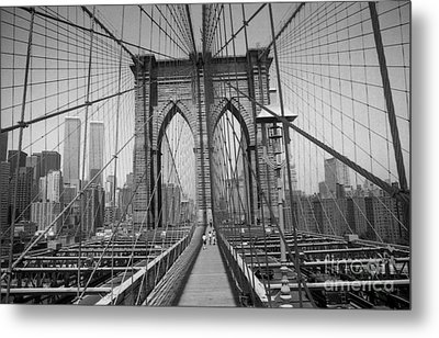 Metal Print featuring the digital art The Brooklyn Bridge Before Nine Eleven by Steven Spak