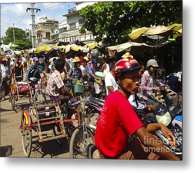 Metal Print featuring the photograph The Bustling Traffic On 27th Street Zay Cho Street Market Mandalay Burma by Ralph A  Ledergerber-Photography