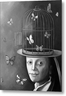 The Butterfly Keeper Bw Metal Print by Leah Saulnier The Painting Maniac