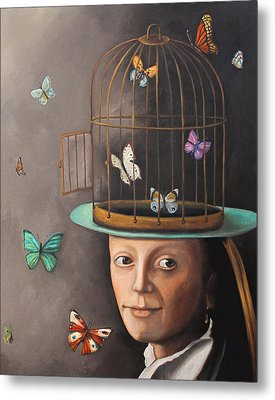 The Butterfly Keeper Edit 2 Metal Print by Leah Saulnier The Painting Maniac