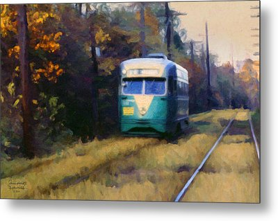 The Cabin John Trolley Metal Print by Spyder Webb