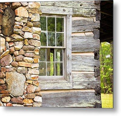 The Cabin Window Metal Print by Sally Simon