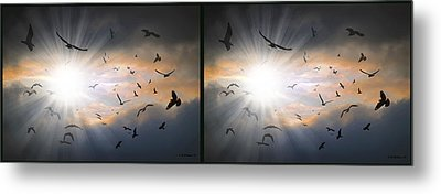 The Call - The Caw - Gently Cross Your Eyes And Focus On The Middle Image Metal Print by Brian Wallace