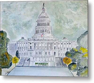 Metal Print featuring the painting The Capitol Hill by Eva Ason