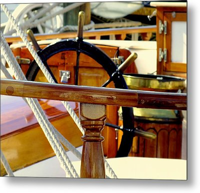 The Captain's Wheel Metal Print by Karen Wiles