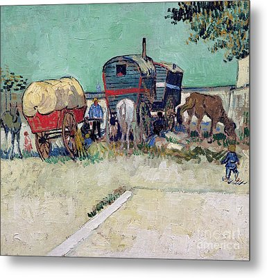 The Caravans   Gypsy Encampment Near Arles Metal Print by Vincent Van Gogh