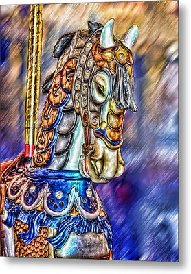 Metal Print featuring the painting The Carousel Horse by Mary Almond