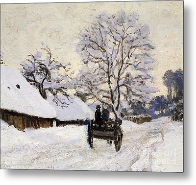 The Carriage- The Road To Honfleur Under Snow Metal Print by Claude Monet