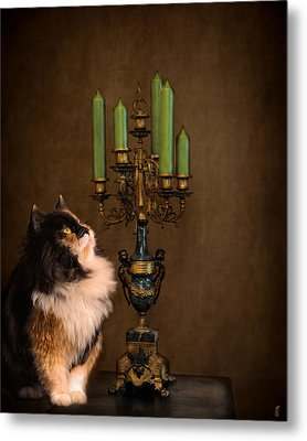 The Cat And The Candelabra Metal Print by Jai Johnson