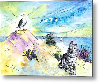 The Cat And The Seagull Metal Print by Miki De Goodaboom