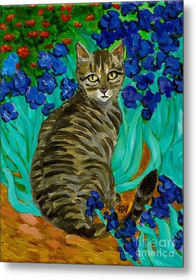 The Cat At Van Gogh's Irises Garden Metal Print