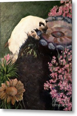 The Cats In The Garden Metal Print by Janet Felts