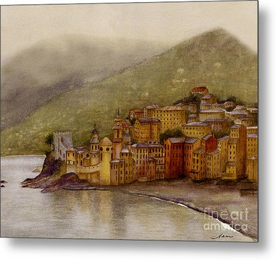 The Charming Town Of Camogli Italy Metal Print by Nan Wright