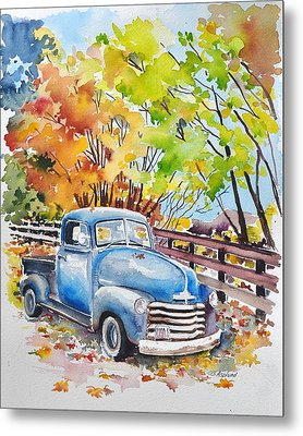 The Old Chevy In Autumn Metal Print