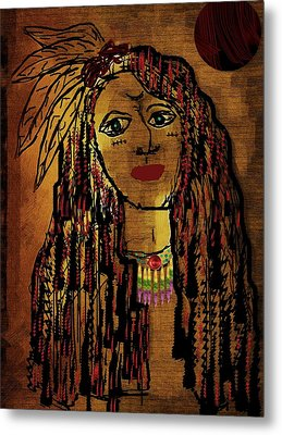 The Cheyenne Indian Warrior Brave Wolf Pop Art Metal Print by Pepita Selles