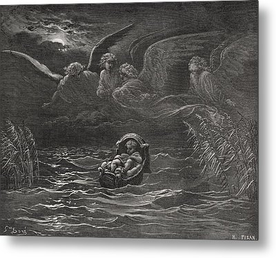 The Child Moses On The Nile Metal Print by Gustave Dore