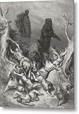 The Children Destroyed By Bears Metal Print by Gustave Dore