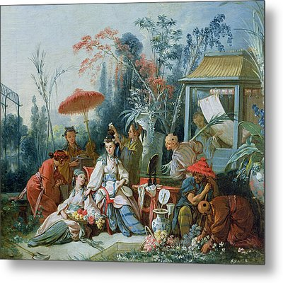 The Chinese Garden, C.1742 Oil On Canvas Metal Print by Francois Boucher