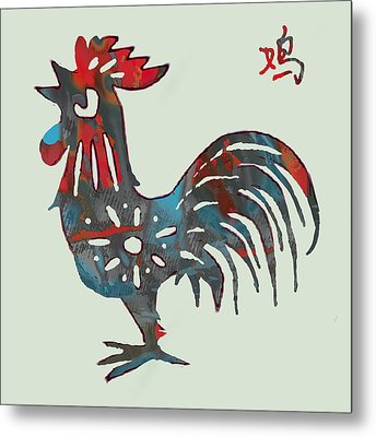 The Chinese Lunar Year 12 Animal - Rooster Pop Stylised Paper Cut Art Poster Metal Print
