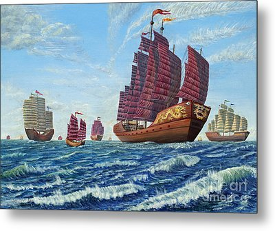 The Chinese Treasure Fleet Sets Sail Metal Print