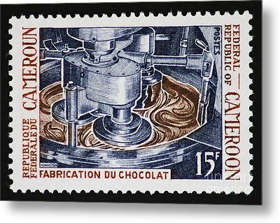 The Chocolate Factory Vintage Postage Stamp Metal Print by Andy Prendy