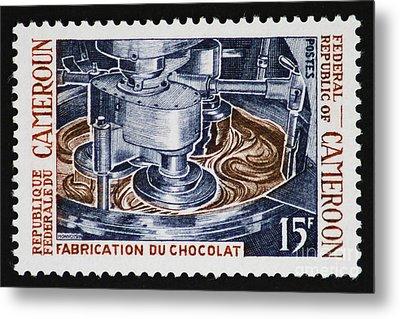The Chocolate Factory Vintage Postage Stamp Metal Print