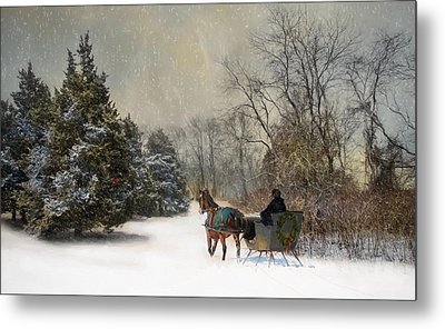 The Christmas Sleigh Metal Print by Robin-Lee Vieira