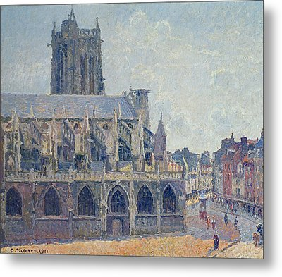 The Church Of St Jacques In Dieppe Metal Print by Camille Pissarro