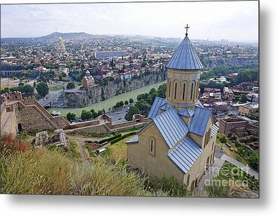 The Church Of St Nicolas Overlooking Tbilisi Georgia Metal Print by Robert Preston