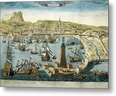 The City And Port Of Barcelona 18th C Metal Print by Everett