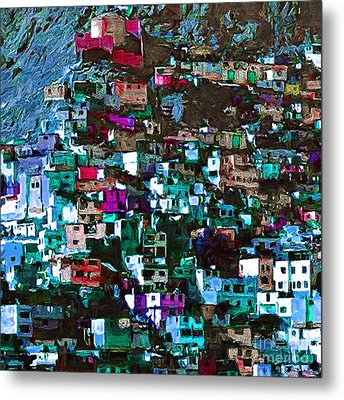 The City On The Hill V1p168 Square Metal Print by Wingsdomain Art and Photography