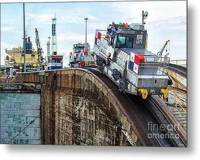 The Climbing Mule Of The Panama Canal Metal Print