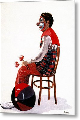 Metal Print featuring the painting The Clown, Intermission by Joyce Gebauer