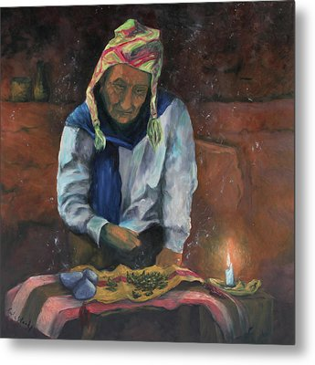 Metal Print featuring the painting The Coca Reader by Carla Woody