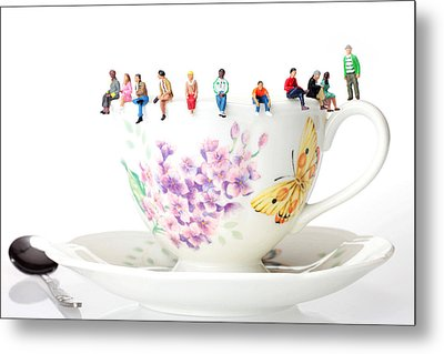 The Coffee Time Little People On Food Metal Print by Paul Ge