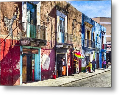 The Colorful Streets Of Puebla Mexico Metal Print by Mark E Tisdale