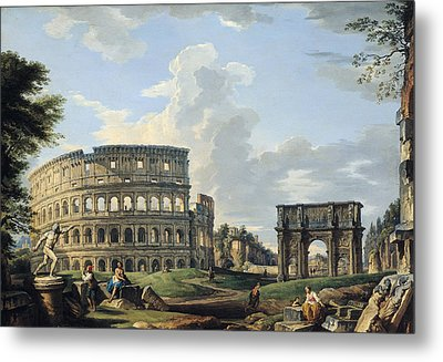 The Colosseum And The Arch Of Constantine Metal Print