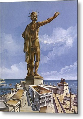 The Colossus Of Rhodes Colour Litho Metal Print by English School