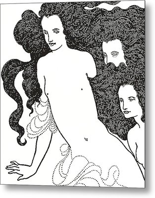 The Comedy Of The Rhinegold Metal Print by Aubrey Beardsley