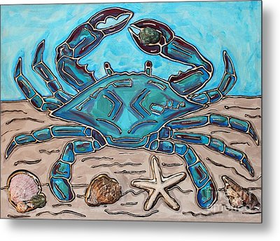 The Content Crab Metal Print by Cynthia Snyder
